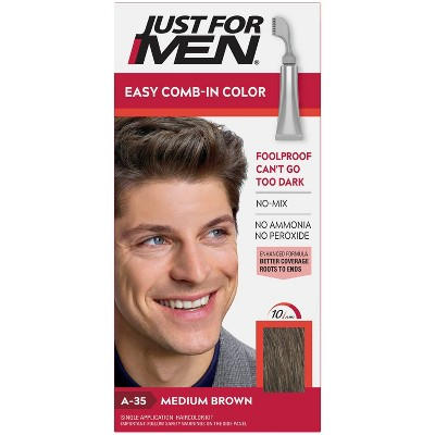 Just For Men Easy Comb-In Color Gray Hair Coloring for Men with Comb Applicator - Medium Brown A35