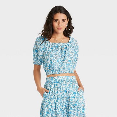 Women's Puff Short Sleeve Cropped Blouse - Universal Thread™ Floral