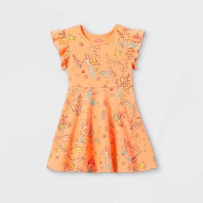 Toddler Girls' Disney Ariel Sleeveless Knit Dress - Pastel Peach