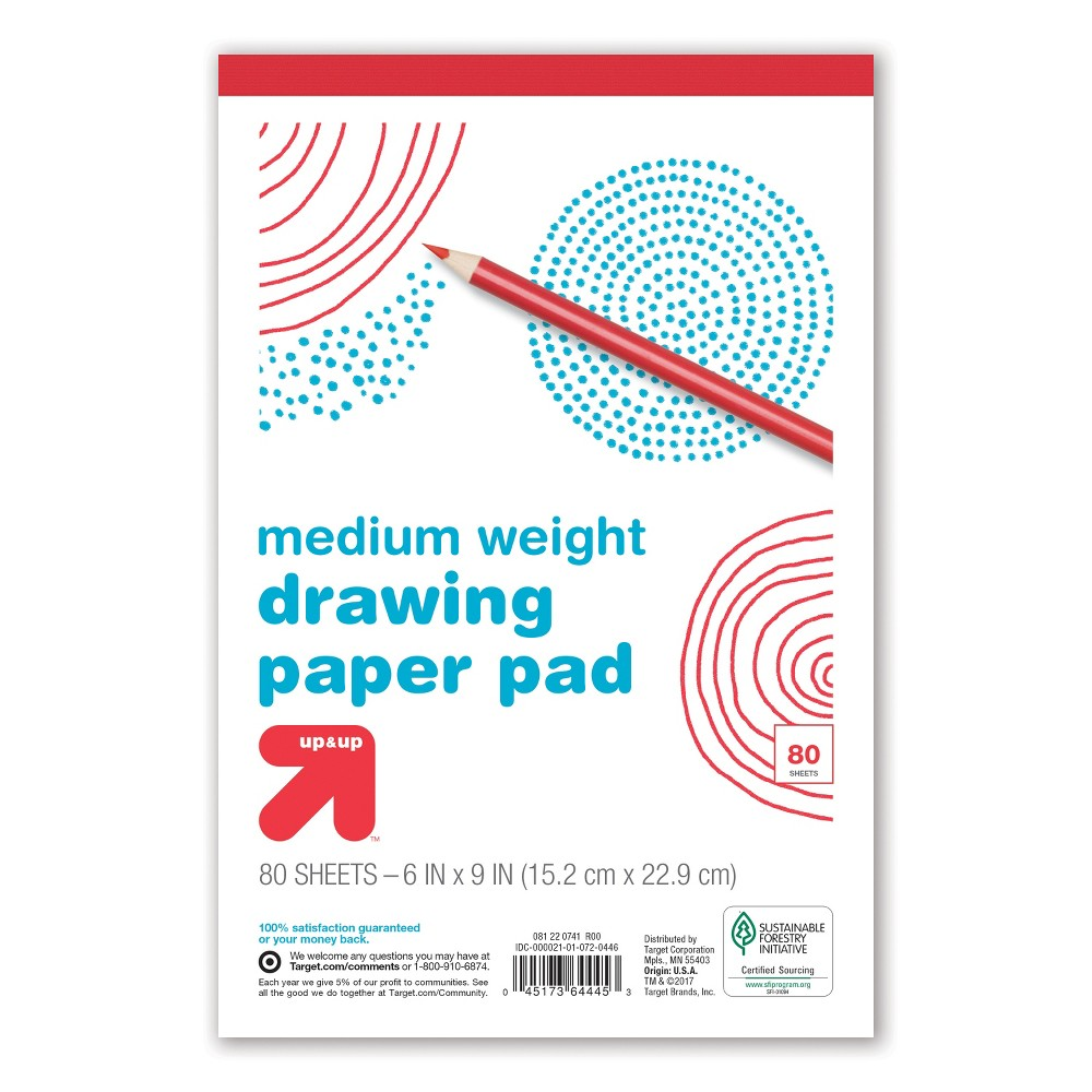 White Drawing Pad 80 ct - Up&Up, Multi-Colored