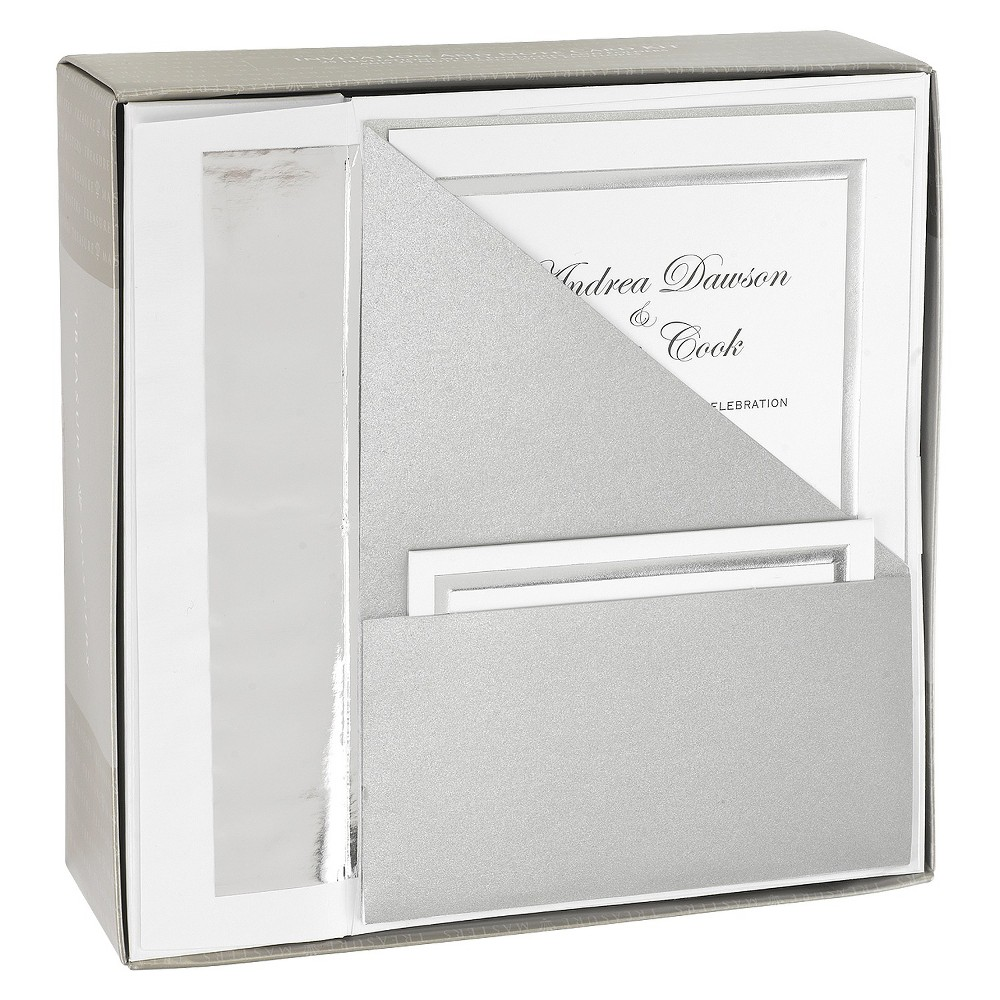 Silver Shimmer Folder Pocket Wedding Invitations (25ct) Create perfect invitations for your big day with a set of Silver Shimmer Folder Pocket Wedding Invitations from Hortense B. Hewitt. Each shimmery silver folder is designed to hold an invitation, note card and note card envelope. The invitations are compatible with your at-home printer so you can customize your invitations any way you please, and the set comes with everything you need to prepare your invites –– just add stamps!