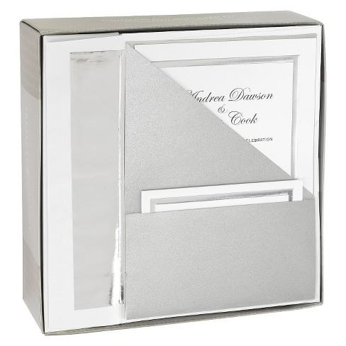 Silver Shimmer Folder Pocket Wedding Invitations 25ct