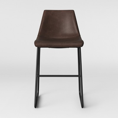 Bowden Upholstered Molded Faux Leather Counter Height Barstool Brown - Project 62™