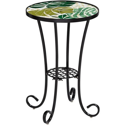 Teal Island Designs Tropical Leaves Mosaic Black Outdoor Accent Table