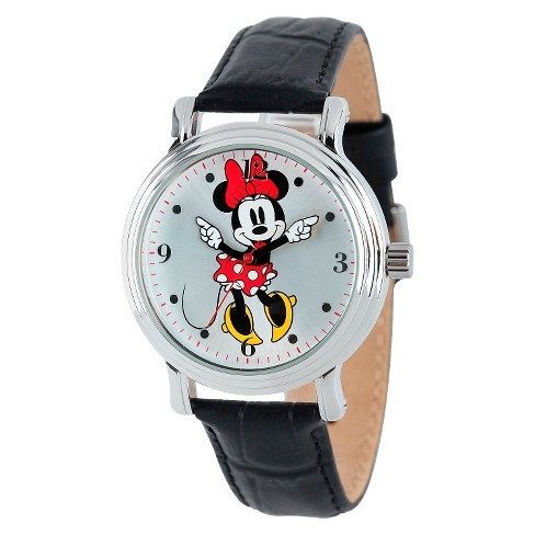 Women's Disney® Minnie Mouse Shinny Vintage Articulating Watch with Alloy Case - Black - image 1 of 2
