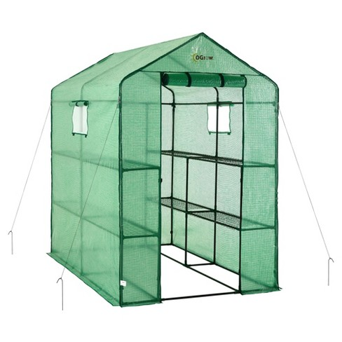 Large Heavy Duty Walk - In 2 Tier 8 Shelf Portable Lawn And Garden Greenhouse - Green - Ogrow - image 1 of 4