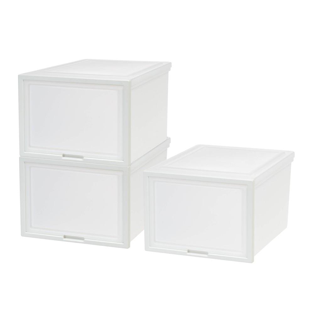Iris 3pk Plastic Storage Drawer Deep With Sliding Door White