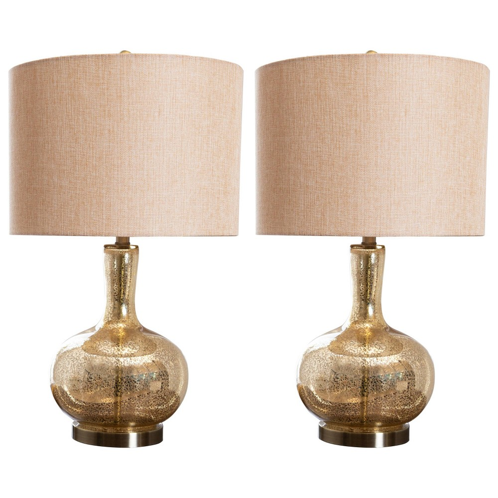 (Set of 2) Soley Glass Table Lamps Gold (Lamp Only) - Abbyson Living