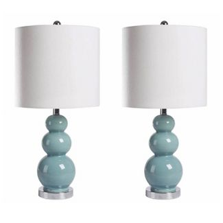 (Set of 2) Cameron Gourd French Table Lamps Blue  - Abbyson Living