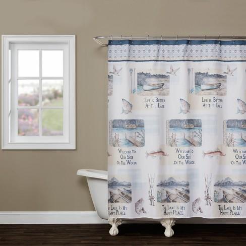 Bass Lake Shower Curtain Multi