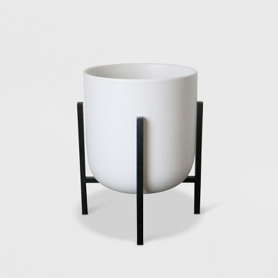 16  Ceramic Planter With Stand White/Black - Project 62™