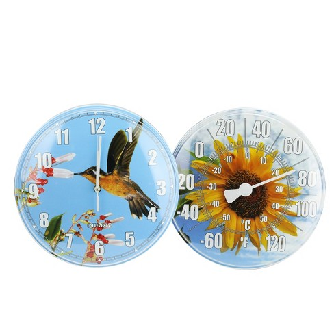"""Swimline HydroTools Swimming Pool Thermometer With Wall Clock Combination 2pc 12"""" - Blue/Yellow - image 1 of 1"""