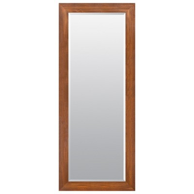 24 x70  Woodgrain Framed Beveled Wall or Leaner Mirror Brown - Gallery Solutions