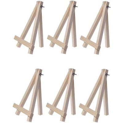 6 Mini Easels - Natural Wood Decorative Display Table Setting Place Card Holder - 7 Inch