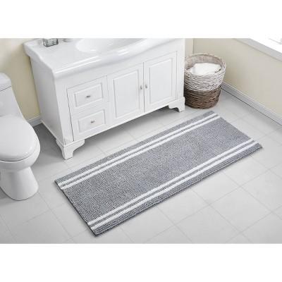 Hotel Border Memory Foam Bath Runner Gray/White - VCNY