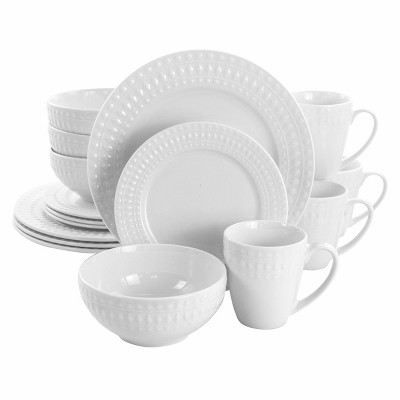 16pc Porcelain Cara Round Dinnerware Set White - Elama
