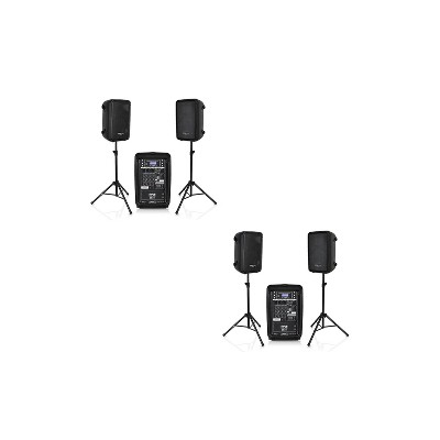 Pyle 2 x PPHP28AMX Stage & Studio 8 Inch Bluetooth DJ PA Loud Speaker System and 8 Channel Audio Mixer Bundle Kit w/ USB & SD Readers, Black (2 Pack)