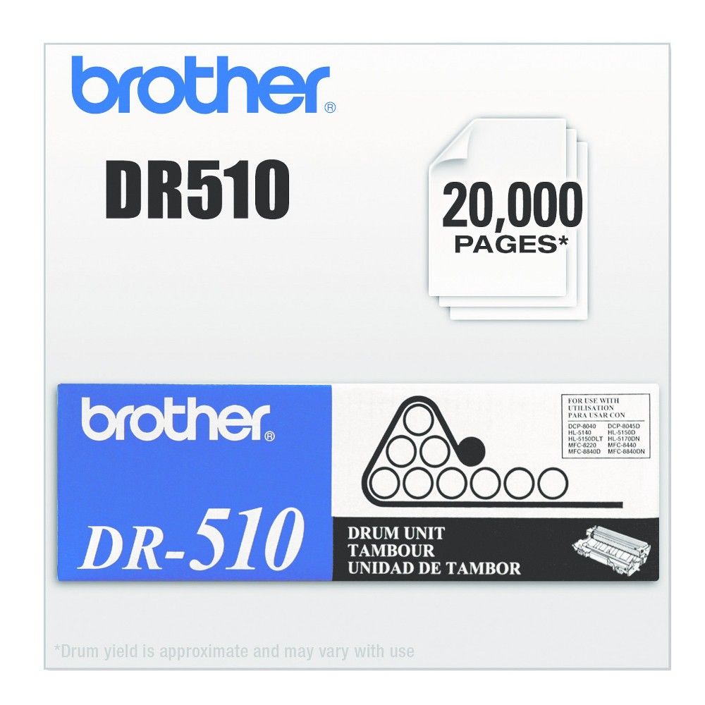Brother DR510 Laser Printer Drum Unit - Black (BRTDR510) Superior Oem manufacturing delivers a high-quality laser drum cartridge. Keeps your device running smoothly for worry-free printing. Easy to install and replace. Device Types: Multifunction Laser Printer; Color(s): Black; Page-Yield: 20000; Supply Type: Drum Unit.