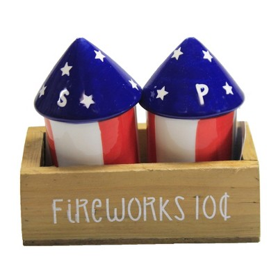"Tabletop 3.5"" Fireworks Salt & Pepper W/Crate Patriotic Americana Transpac  -  Salt And Pepper Shaker Sets"