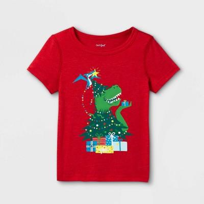 Toddler Boys' Adaptive Christmas Dinosaur Short Sleeve Graphic T-Shirt - Cat & Jack™ Red