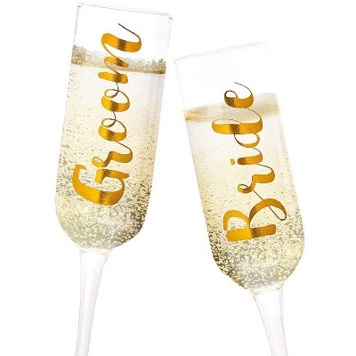 Juvale 2 Pack Gold Glass Groom & Bride Champagne Wedding Flutes Glasses, 8 Ounces