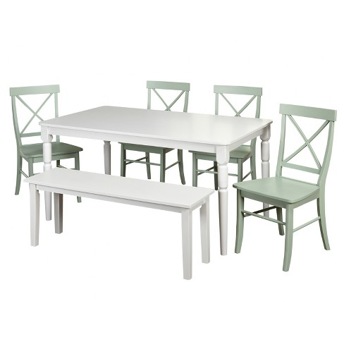 Awesome 6 Piece Albury Dining Set With Bench Target Marketing Systems Creativecarmelina Interior Chair Design Creativecarmelinacom