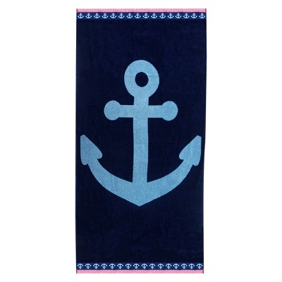 XL Anchor Beach Towel Navy Voyage