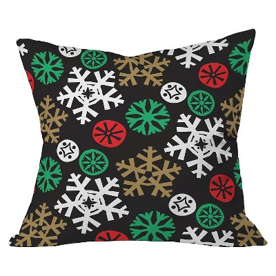 Black Cozy Cabin Snowflakes Throw Pillow (20 x20 )- Deny Designs®