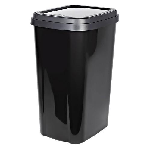 Hefty 13gal Odor Block Lid Wastebasket Graphite - image 1 of 4