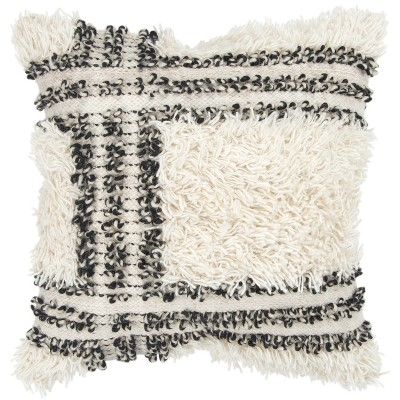 Stripe Decorative Filled Oversize Square Throw Pillow Neutral - Rizzy Home