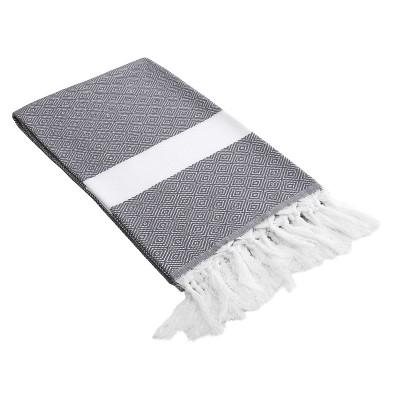 Diamond Weave Pestemal Turkish Cotton Beach Towel Gray
