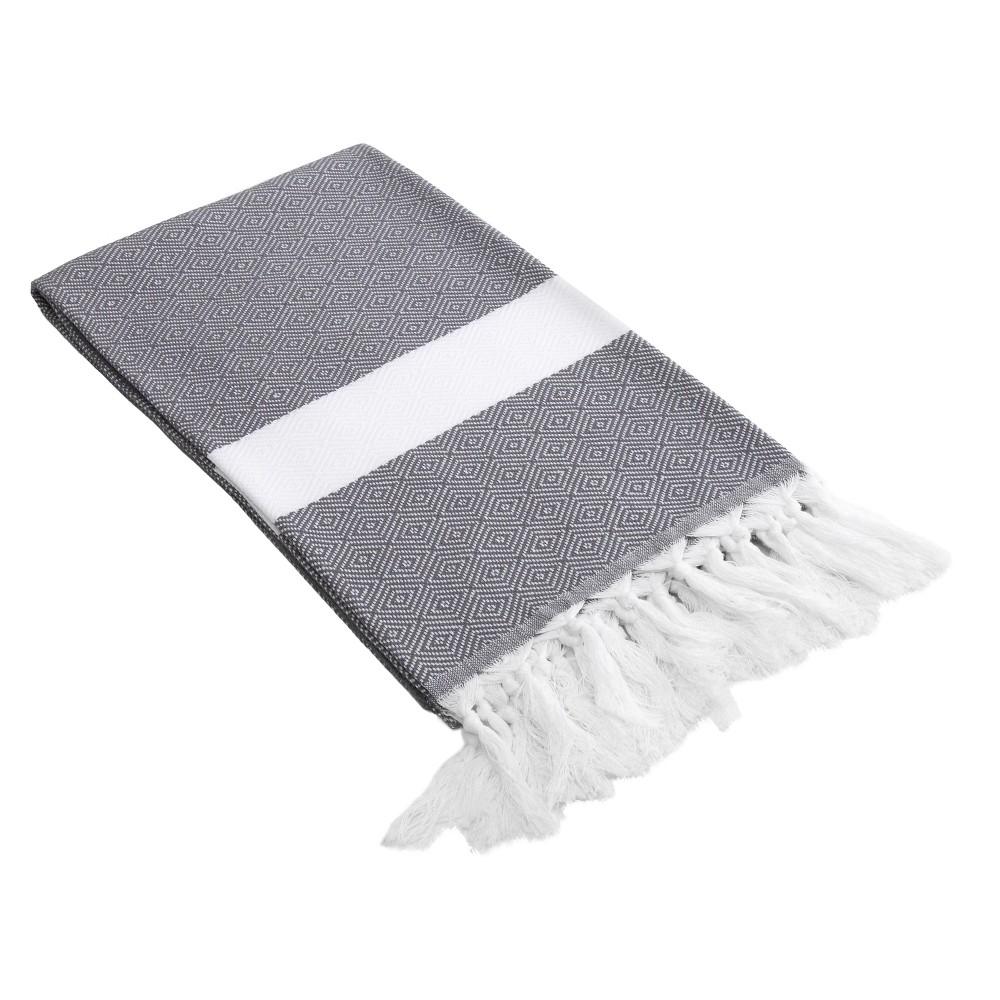Image of Diamond Weave Pestemal Turkish Cotton Beach Towel Gray