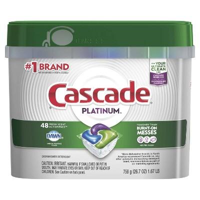 Cascade Platinum Dishwasher Pods, ActionPacs Dishwasher Detergent Tabs, Fresh Scent - 48ct