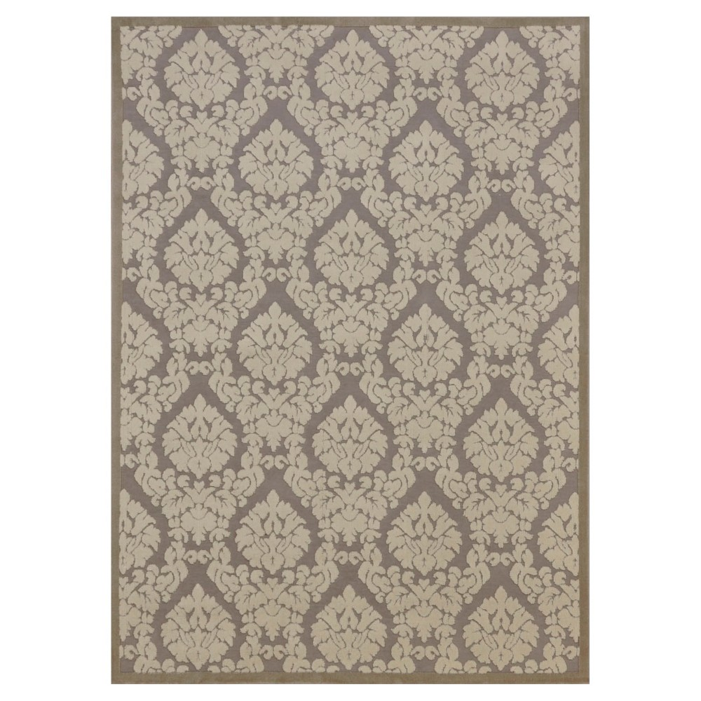 "Image of ""Nourison Damask Ultima Accent Rug - Silver/Ivory (2'2""""X3'9"""")"""