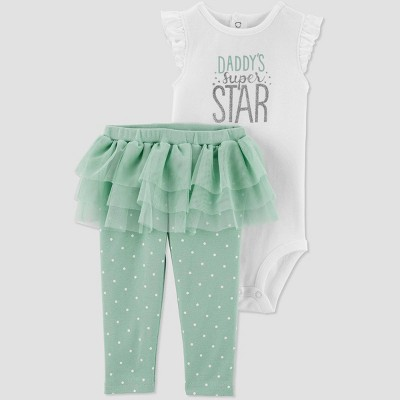 Baby Girls' Family Love 2pc 'Daddy's Super Star' Top and Bottom Set - Just One You® made by carter's White/Green 6M