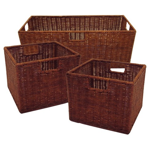 Leo Set of 3 Wired Baskets, 1 Large and 2 Small - Antique Walnut - Winsome - image 1 of 2