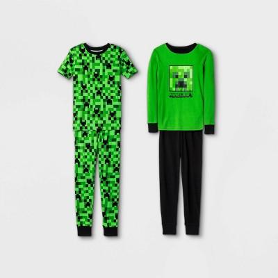 Boys' Minecraft 4pc Pajama Set - Green/Black