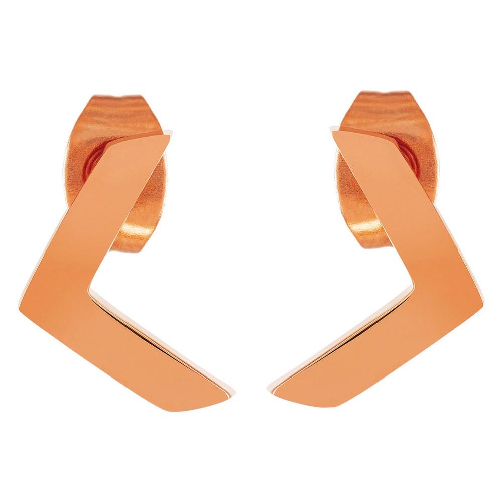 Image of ELYA Chevron Stud Earrings - Rose Gold, Women's, Pink Gold