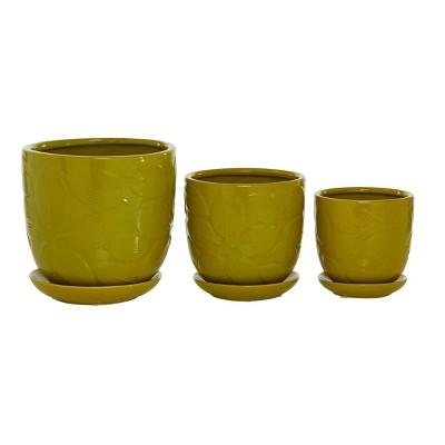 Set of 3 Ceramic Planter with Saucer Set Yellow - Olivia & May