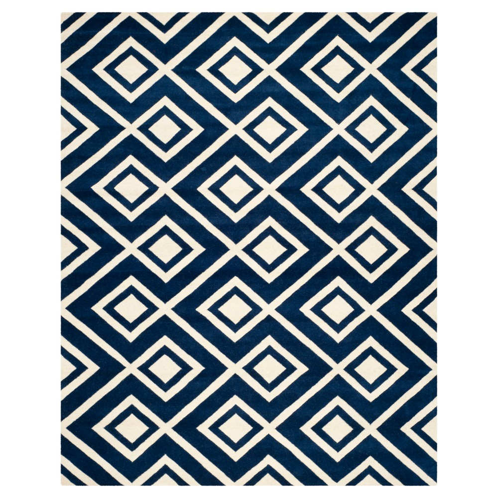 5'X8' Geometric Area Rug Dark Blue/Ivory - Safavieh