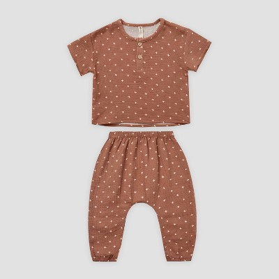 Q by Quincy Mae Baby 2pc Gauze Short Sleeve Top & Bottom Set - Clay Brown 3-6M