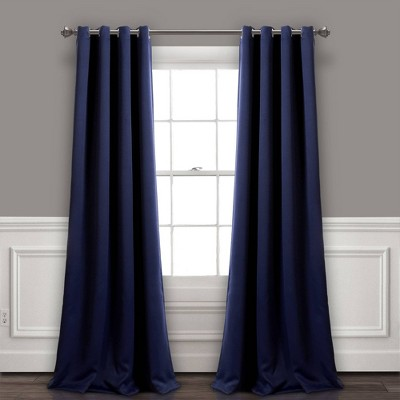 """Set of 2 (84""""x52"""")Insulated Grommet Top Blackout Curtain Panels Navy - Lush Décor"""