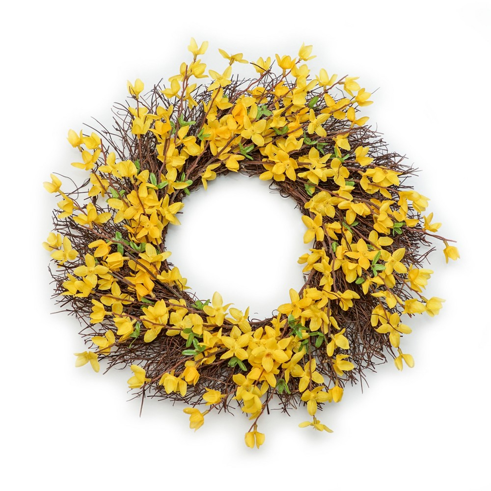 Artificial Floral Wreath Yellow 19