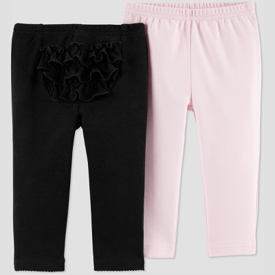 Baby Girls' 2pk Fox Pants - Just One You® made by carter's Black/Pink 3M