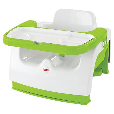 Fisher-Price Baby Chair Booster With Tray White/Jungle Green