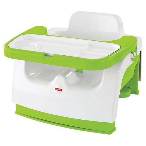 Fisher-Price Baby Chair Booster With Tray White/Jungle Green - image 1 of 12