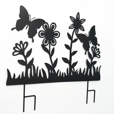 Lakeside Decorative Black Silhouette Metal Garden Fence Stake Cut-Out