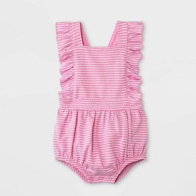 Baby Girls' Textured Romper - Cat & Jack™ Pink 6-9M