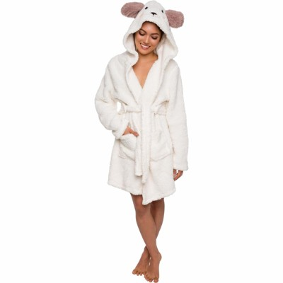 Silver Lilly - Women's Plush Lamb Hooded Robe
