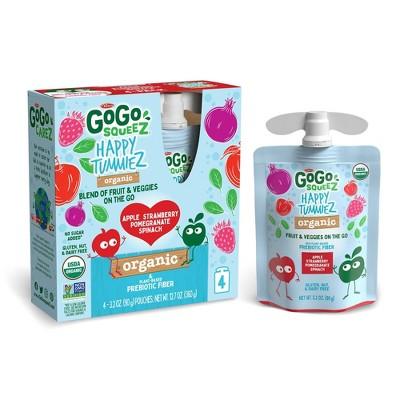 GoGo SqueeZ Happy TummieZ Organic Apple Strawberry Pomegranate Spinach - 12.8oz/4ct